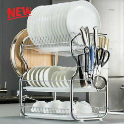 Large Capacity Dish Rack 3 Tier Drainer Drying Kitchen Storage Stainless Steel $26.00
