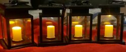 Solar Candle Lantern SET of 4 Plastic Frame INDOOR OUTDOOR With AA BATTERIES $13.50