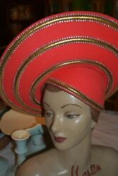 jack mcconnell red rhinestone red feather hat $199.99
