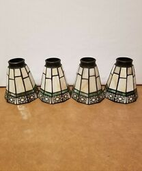 4 Hampton Bay Sonoma Replacement Shades Tiffany Style Stained Slag Glass $99.99