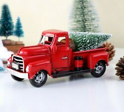 Vintage Metal Classic Rustic Red Pickup Truck Christmas Home Office Table Decor $15.98