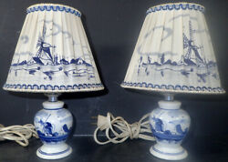 Vintage 2 Delft Blue Windmill Small Table Lamps Hand Painted Holland $31.96
