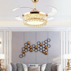 Crystal Ceiling Fan LED Chandelier Gold Invisible Light Retractable Blades 42quot; $138.18