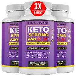 3 Pack Official Keto Strong Max Advanced Formula 3 Bottles 3 Month Supply $29.99