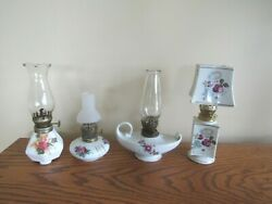 4 Vintage Small Oil Lamps White and Floral $20.00