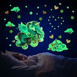 Unicorn Wall Decals for Girls BedroomGlow in The Dark Stars Stickers of Colorfu $15.83