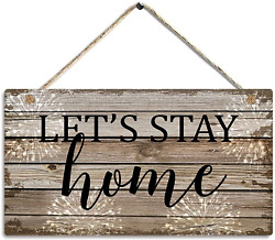 CAKIROTS Rustic Home Decor Wood Signs Let#x27;s Stay Home Modern Farmhouse Wall Deco $14.02