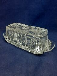 Vintage Crystal Diamond Cut Clear Glass Butter Dish NWOT $14.99