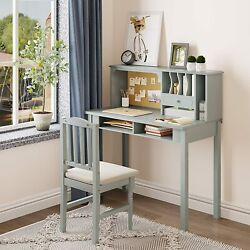 Home Kids Study Desk and Chair Set Student Writing Station Reading Table w Hutch $152.99