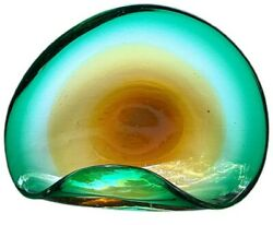 Vintage MID CENTURY MODERN Green amp; Yellow Murano Sommerso Glass Bowl $47.50