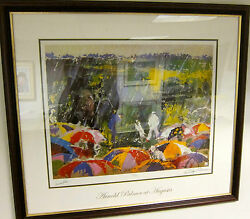FRAMED ARNIE IN THE RAIN AUTOGRAPHED ARNOLD PALMER BY LEROY NEIMAN