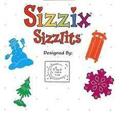 Sizzix Doodle Sizzlits SNOW SET 4 Dies Sled RETIRED $24.99