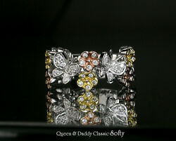 Sweet and luscious butterfly design 18K(750) multi-tone gold fine diamond ring