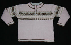 Hanna Andersson Fair Isle Zip Pullover Brown Pink Sweater 110 5 6 EUC