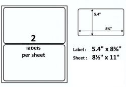 Framed for Easy Removal 20 Self Adhesive Shipping Mailing Labels 2 8.5x11 Sheet $7.39