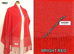Bright Red 100% Pashmina Cashmere Wool Shawl Wrap Scarf Silver Metallic Threads