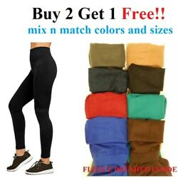 WOMENS STRETCHY THICK WARM BRUSHED FLEECE LINED WINTER LONG LEGGINGS S M L 1X-3X $6.95