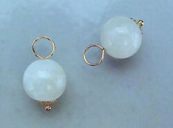 10mm Beautiful AAA White Moonstone INTERCHANGEABLE Earring Charms SS ROSE or YG