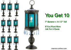 10 PEDESTAL Blue Lantern Wedding Table Moroccan Candle READ NOTE