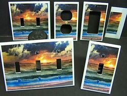 OCEAN WAVES AT SUNSET IMAGE 1   LIGHT SWITCH COVERS PLATE AND OUTLETS  $6.19
