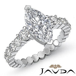 Elegant Marquise Diamond 10 Stone Engagement Ring GIA G VS2 14k White Gold 1.7ct