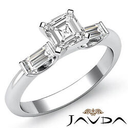 Asscher Cut Diamond Three Stone Engagement Ring GIA G VS2 14k White Gold 1.3 ct