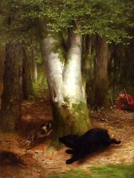 BEAR RUNNING AFTER DOG HUNTERS WATCHING FOREST BY WILLIAM HOLBROOK BEARD REPRO $9.90