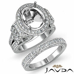 Diamond Engagement Semi Mount Ring Oval Pave Bridal Sets  18k Gold White 3.8Ct