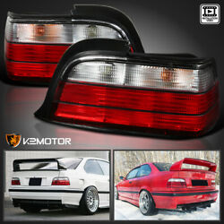 1992-1998 BMW E36 3-Series 2Dr Tail Lights Red Clear Rear Brake Lamps PAIR