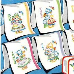 Dutch Girls for Days of the Week Towels pot holders 272 repo iron on Embroidery $10.99
