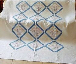 WELL QUILTED COUNTRY BLUE SASHING CHIPS IN BASKETS HAND QUILTED