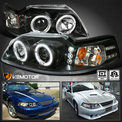 For Black 1999-2004 Ford Mustang LED Halo Projector Headlights Lamps Left+Right $108.38