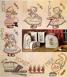 Vintage Embroidery Transfer repo 7425 Dutch Girls for Days of the Week Towels $10.99