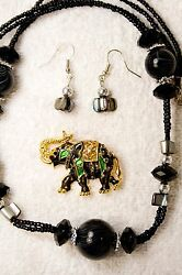 jewelry set new earrings necklace black glass crystal Elephant pin brooch gold