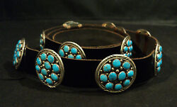 HEAVY VINTAGE NAVAJO STERLING SILVER & TURQUOISE CONCHO BELT. SIGNED