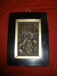 """Late 16th - mid 17th c.  framed bronze plaquette Celebration Dance 7 ¼"""" x 5 ½"""
