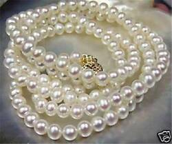Beautiful Natural 7 8mm White Akoya Cultured Pearl Necklace 25quot; $8.66