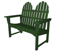 POLYWOOD Classic Adirondack 48 Inch Bench in Green Transitional Outdoor