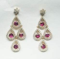 7.67CT F SI1  Ruby and Diamond Earrings 18K Rose Gold