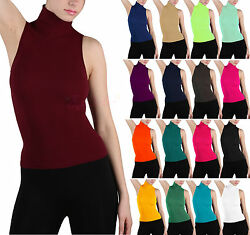 Soft Sexy Seamless Ribbed Sleeveless Mock Neck Turtleneck Shaping Tank Top Shirt $4.99