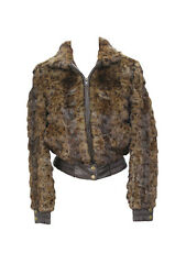 417153 New Leopard Print Dyed Mink Fur Sections Jacket Coat Stroller S Small