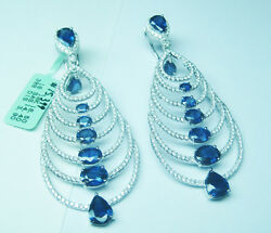 18.30CTW Sapphire and Diamond Earrings F SI1 18K  White Gold