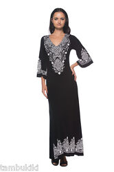 Sale Caftan Style Ethnic Black Jersey Long Maxi 236 mv Dress S M L XL 2XL 3XL $27.69