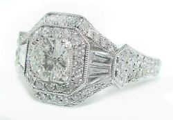 2.25 CT Cushion HALO Diamond ENGAGEMENT Ring with Rounds & Baguettes 18K WG
