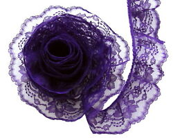 PURPLE 3 Inch Wide Ruffled Floral Lace Trim By 5 Yards $4.19
