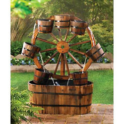 wood Barrel wagon wheel country Outdoor Patio pond water Garden Fountain kit