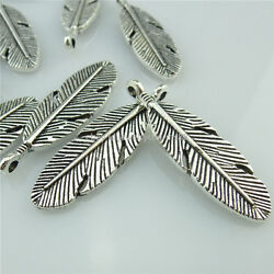 13996 20PCS Vintage Silver Tone Alloy Feather Pendant Charms Jewelry Making  $4.95