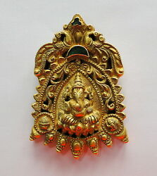 Vintage antique Solid 22K Gold handmade jewelry Lord Ganesha Pendant Necklace