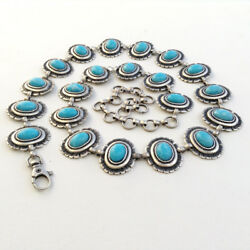 Women#x27;s Navajo Style Antique Silver amp; Turquoise Concho Belt S M L MADE IN ITALY $32.50