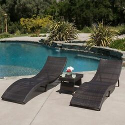 Outdoor Patio Furniture 3pc Folding Brown Wicker Chaise Lounge Chair